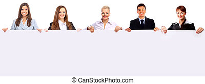 group of business people holding a banner