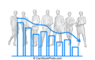group of faceless people with a downgrade schedule. 3d rendering