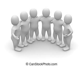 Group of friends. 3d rendered illustration.