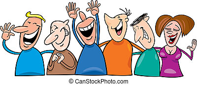 Cartoon illustration of group of laughing people