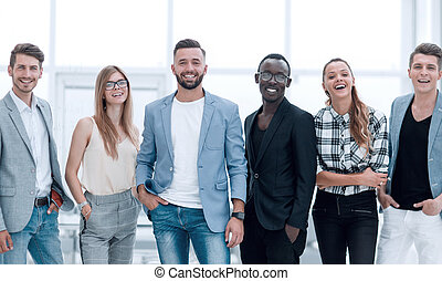 Group of people in front of a white background