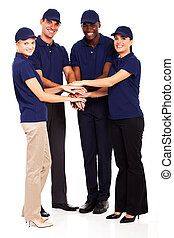 service industry staff hands together