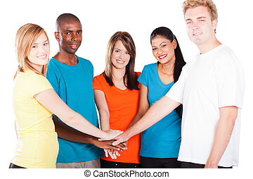 multicultural people hands together