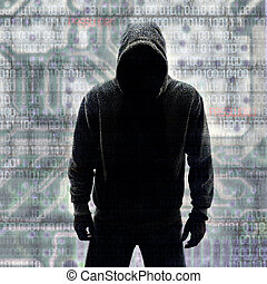 Hacker in Silhouette and Binary codes background
