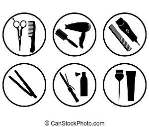 vector silhouettes hairdressing supplies in icons on a white background