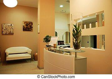 Interior of a modern fashionable beauty salon