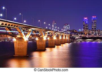 Han River and Bridge in Seoul, South Korea.