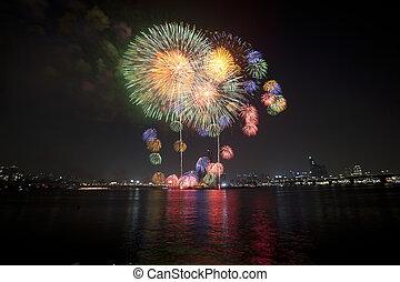 Han River Seoul International Fireworks Festival in South Korea
