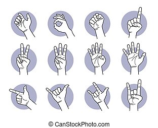 Hand and finger gestures.