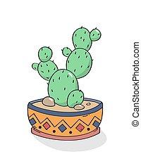 Hand drawn cactus print. Vector.