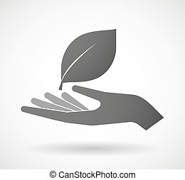 Hand giving a leaf