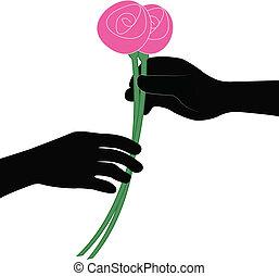 hand giving flower vector