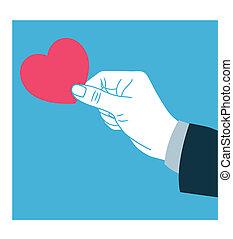 Hand giving love