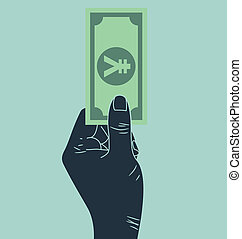 hand giving yen money