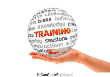 Hand holding a Training Word Sphere on white background.