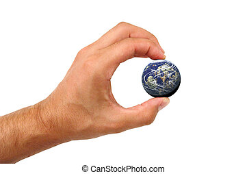 Male hand holding earth over white background