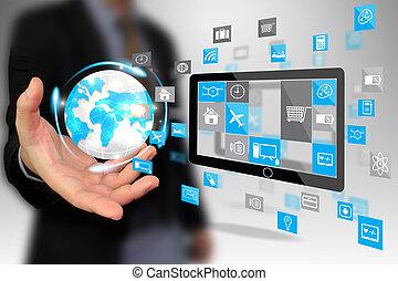 hand holding social media icons.