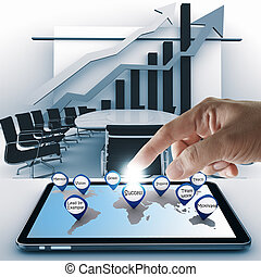 hand point business success icon with tablet computer