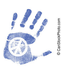 Hand print / Vector / Peace sign