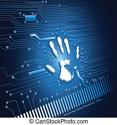 illustration of analysing of hand scanning on abstract background
