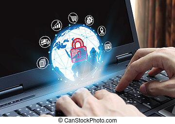 hand use laptop computer with padlock icon