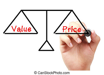 Hand with marker is drawing Value and price balance scale on the transparent white board.
