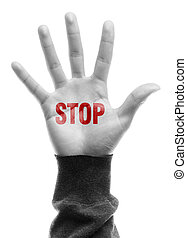 Hand with Stop text is isolated on white background.