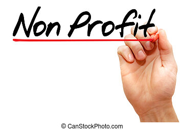 Hand writing Non Profit with marker, business concept