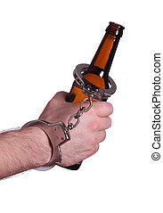 handcuff with beer