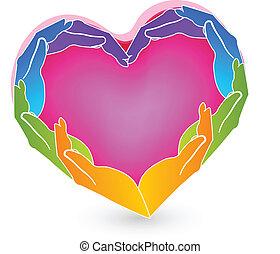 Hands and solidarity heart logo