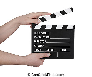 Hands holding a film clapperboard