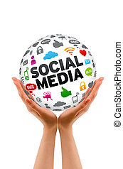 Hands holding a Social Media Sphere