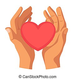 Hands holding heart flat vector illustration