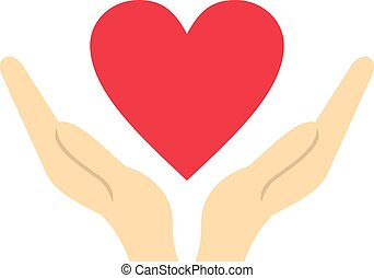 Hands holding heart icon, flat style