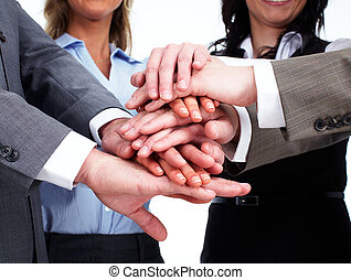 Hands of business people team.