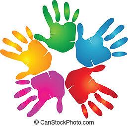 Hands print in vivid colors logo