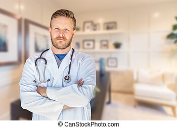 Handsome Young Adult Male Doctor With Beard Inside Office