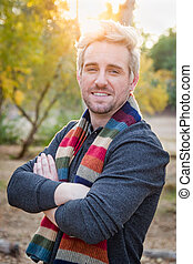 Handsome Young Adult Male Wearing Scarf Portrait Outdoors