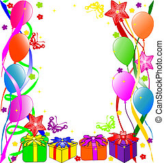 Colorful birthday background with balloons, ribbons, butterflies, flowers.