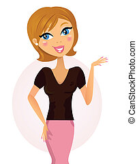 Happy smiling woman explaining something with hand. Vector Illustration
