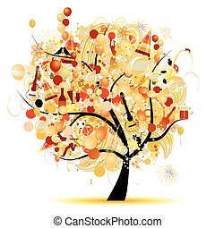 Happy celebration, funny tree with holiday symbols