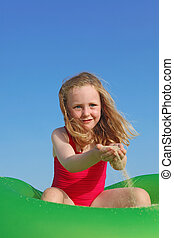 happy child playing on summer vacation