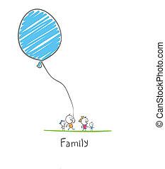 happy family holding a balloon