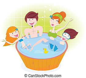 Mother, father and children relaxing in bubble bath. Vector Illustration.
