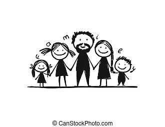 Happy family together, sketch for your design