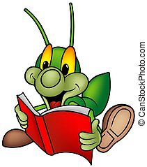 Happy Green Bug 01 - bug reading book, cartoon illustration