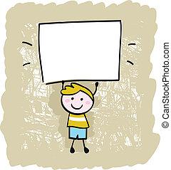 Happy kid boy holding blank banner sign