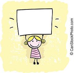 Happy little kid girl holding empty blank banner sign