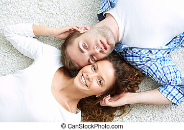Portrait of smiling young people being in a happy relationship