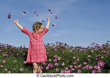 happy summer child with flowers